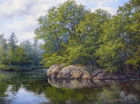 quiet river - painted, quiet, rivers, nature