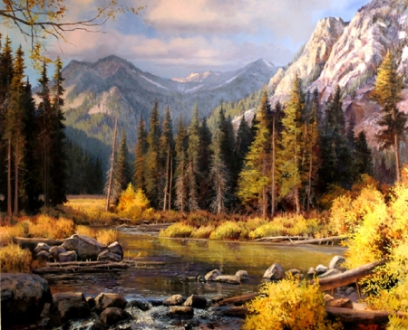 Lake in Autumn - lake, painting, autumn, nature