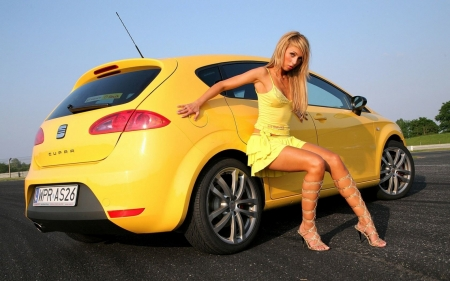 Blonde With Car - yellow, blonde, car, model, pretty, sexy