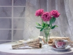 tea time with music and pink roses