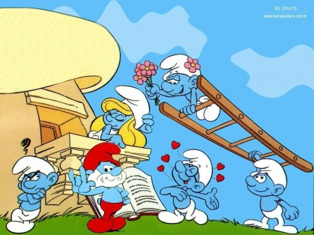 the smurfs - smurfette, papa, ladder, smurfs