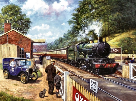 Spotting With Grandpa - Train C - train, artwork, painting, art, illustration, wide screen, railroad, beautiful, locomotive, tracks, engine