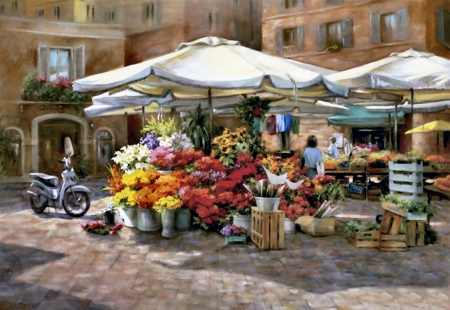 Market Research - Flowers - stores, shops, painting, scenery, illustration, art, wide screen, artwork, beautiful, cityscape