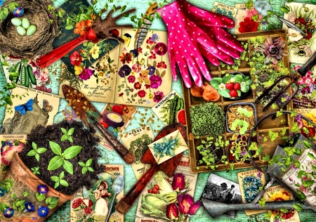 Green Thumbs - gloves, beautiful, artwork, gardening, painting, nature, art, illustration, wide screen