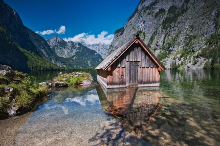 Lake Obersee, Berchtesgaden, Germany - rocks, alps, cabin, mountains, sky