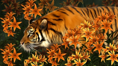 TIGER LILIES - PAINTING, TIGER, ORANGE, FLOWERS, LILIES