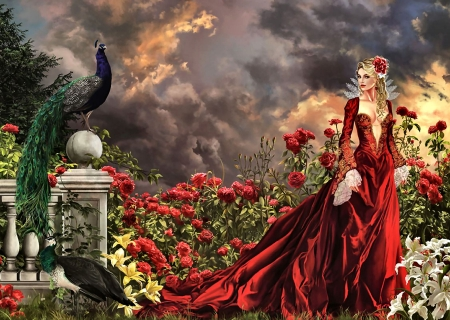 Concubine FC - art, illustration, wide screen, flowers, people, peacock, beautiful, concubine, painting, bird, lady, avian, artwork