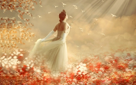 Nothing Holds Her Back  - field, digital, Lady, ethereal, sunshine, lovely, Dreamy, flowers, feminine, softnesss, dreamy
