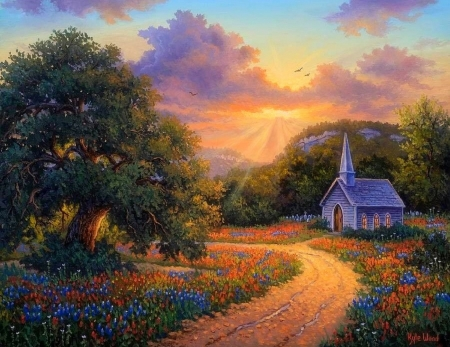 Evening Praise - chapels, roads, countryside, sunsets, summer, attractions in dreams, churches, love four seasons, nature, paintings, landscapes, flowers, rural