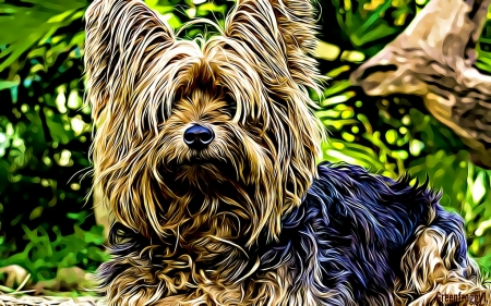 FRACTAL YORKIE - YORKIE, DOG, ABSTRACT, FRACTAL