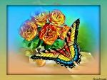 ROSES WITH BUTTERFLY