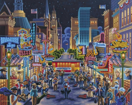 Nashville - street, painting, buildings, artwork, city, music, tennessee, people