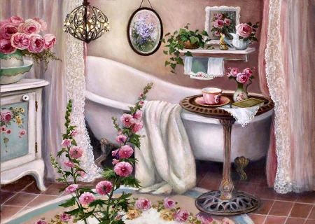 Bathroom Solitude F1Cmp - painting, scenery, landscape, architecture, illustration, art, wide screen, artwork, beautiful, bathroom