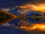 Sunset over lake Misurina, Italy