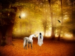 Unicorn and friends in the autumnal forest