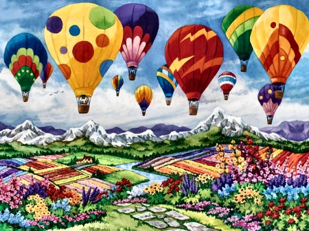 Spring is in the Air F - painting, art, illustration, wide screen, balloons, scenery, aviation, spring, beautiful, aircraft, four seasons, artwork, flight