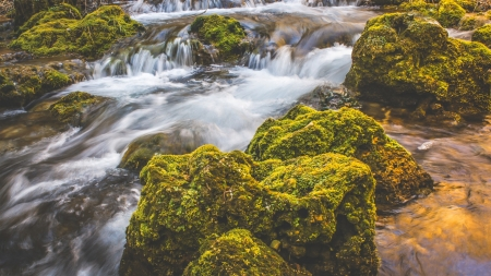 Creek Waterfall - stones, moss, waterfall, creek, nature