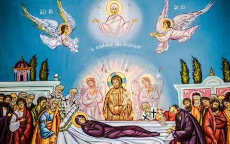 Assumption of Virgin Mary - Mary, Assumption, Jesus, apostles, angels, icon