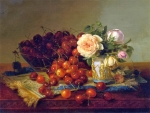 Still life with roses and cherries