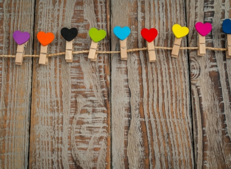 :-) - card, colorful, heart, wood, valentine, brown