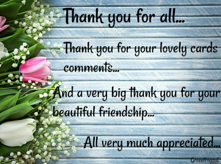 THANK YOU FOR ALL - YOU, CARD, COMMENT, THANK