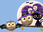 Halloween Owls and Cat