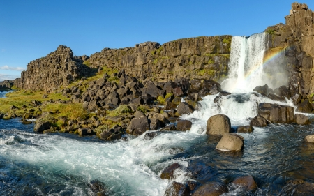 Oxararfoss Waterfall, Iceland - waterfall, rainbow, iceland, nature