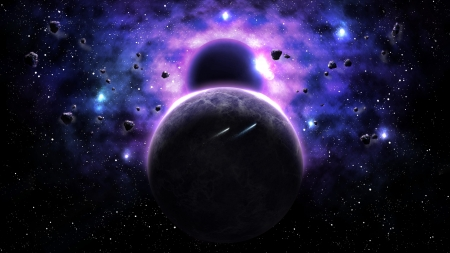 Taking Over - space, 3d, stars, planets, moons, purple