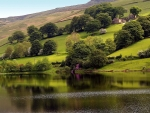 English lake and hills