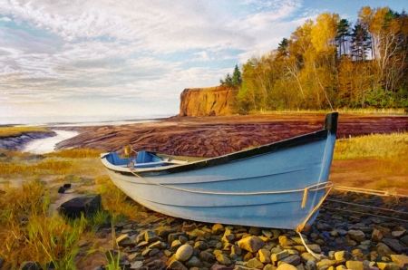 High and Dry - stones, clouds, autumn, coast, sky, boat, cliff