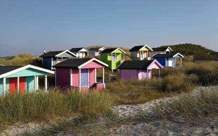 Beach Huts - huts, dunes, colorful, beach, grass