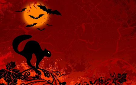 Halloween moon - red, bats, halloween, cat