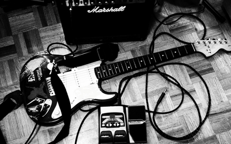 Guitar - stereo, white black, guitar, rock