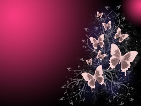 Butterflies - abstract, butterfly, purple