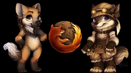 Steampunk Firefox - science fiction, steampunk, fox, Firefox, technology, vintage
