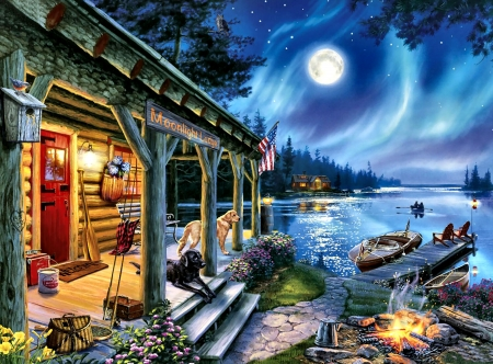Moonlight Lodge F2C - painting, scenery, lodge, landscape, architecture, illustration, art, moonlight, wide screen, artwork, beautiful