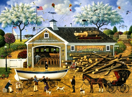 Dahlia Makes a Dory Deal - painting, scenery, boat, illustration, art, horse, wide screen, artwork, equine, beautiful