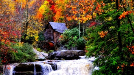 Mill in Babcock State Park, West Virginia - colors, leaves, autumn, river, trees