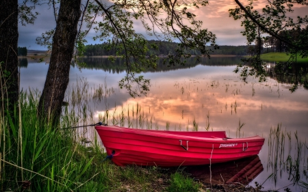 Red Boat - sunset, trees, sky, lake, clouds, reflection