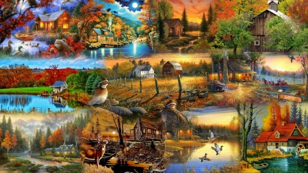 Country Fall Collage - cabins, forest, fall, autumn, woods, cottages, animals, trees, collage, lakes, wild