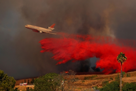 Fire retardant dropped on a California wildfire - Orange, California, Wind driven, Aircraft, 9 October  2017, Wildfire, DC10, Fire retardant, USA