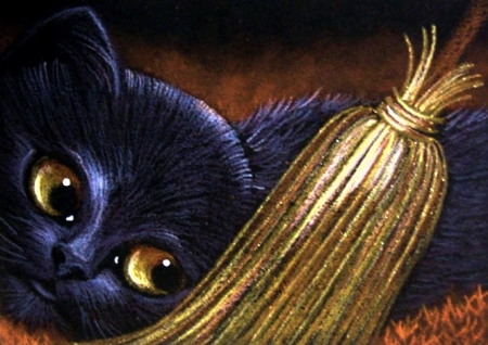 Black Halloween Cat - painting, dark, witch, broom