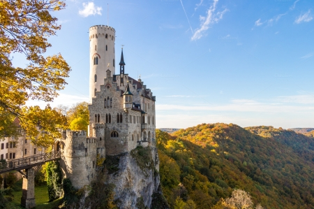 Castle Liechtenstein at Fall - colors, hills, landscape, tower, germany