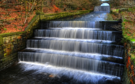 Water Cascade in English Park - autumn, creek, water, colors, steps, fall