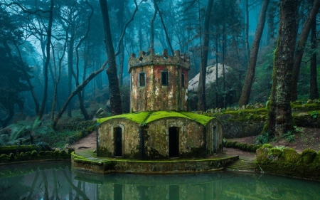 Hobbit's Castle - trees, tower, Sintra Portugal, pond, Portugal, forest, Sintra