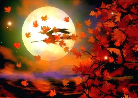 Halloween Witch Flight - colors, fantasy, leaves, digital art, attractions in dreams, moons, love four seasons, paintings, witch, halloween, autumn, fall season