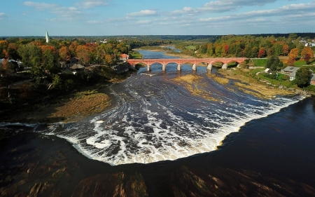 Venta River in Kuldiga, Latvia - waterfall, river, Latvia, bridge