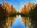 mirroring autumn trees