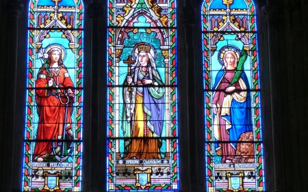 Saints - church, christianity, stained glass, saints