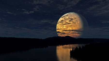 big moon over a river - moon, space, cool, river, fun